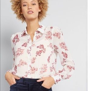 Modcloth Tops - ModCloth sheer white button down with pink roses